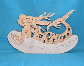 Mermaid Scroll Saw Wooden Puzzle