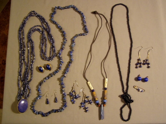 Vintage Lot Lapis Stone Bead 4 Necklaces 5 Pairs Earrings 1 Pin  3607