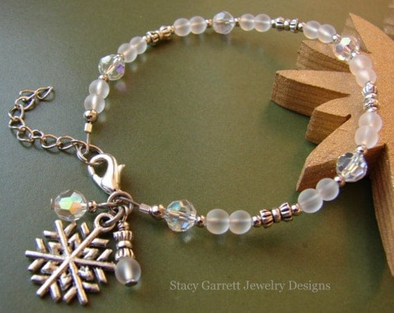 White Christmas // Frosted White Glass / Clear Crystal Snowflake Charm Bracelet Adjustable