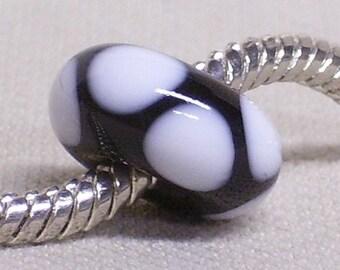 Handmade Lampwork Bead Large Hole European Charm Bead Black with Retro White Dots