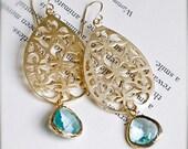 Chandelier Earrings-Gold Earrings with Aquamarine Gold Encased Glass-Bohemian-Spring Summemr Fashion