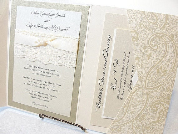 Lace Wedding Invitations, Lace Wedding Invite, Wedding Invitations, Wedding Invite, Floral Invite, Vintage Invitation HAYLEY - PAISLEY
