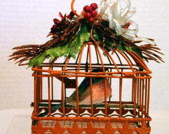 Wire Birdcage With Artificial Bird Christmas Ornament / Decoration