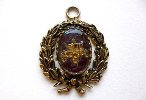 Vintage Glass Intaglio Carriage Pendant