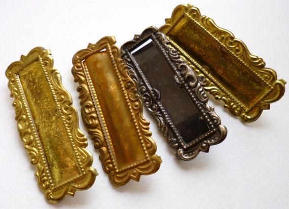 Antique Metal Badge Pins Brass Gold Gunmetal 4pc