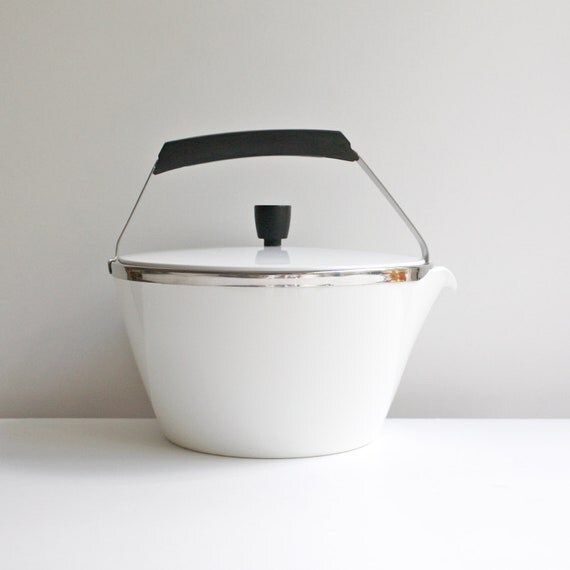 Vintage Corning Ware Cookmates Teakettle - White Glass