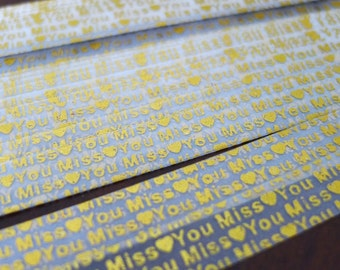 Metallic Gold Embossed - Miss You - Vellum Origami Lucky Star Folding Paper - pack of 25 strips