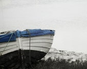 Boat Nautical Photography Winter Landscape Black And White Blue Home Decor 10x8 Print Blue Boat