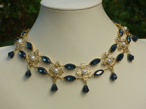 Renaissance Style Choker with Montana Blue Rhinestones and Glass Pearl Accents