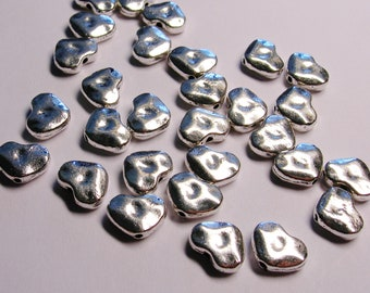 Silver color  beads hypoallergenic- 50 pcs -  silver hammered heart beads - ZAS 119