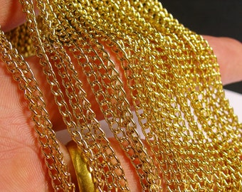 Gold chain - lead free nickel free won't tarnish .1 meter-3.3 feet made from aluminum - CA35