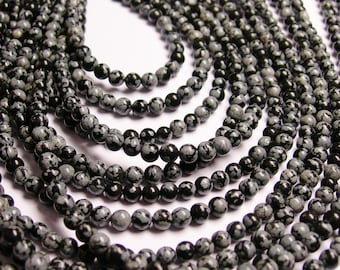 Snowflake obsidian - 4 mm round beads -1 full strand - 88 beads - A quality