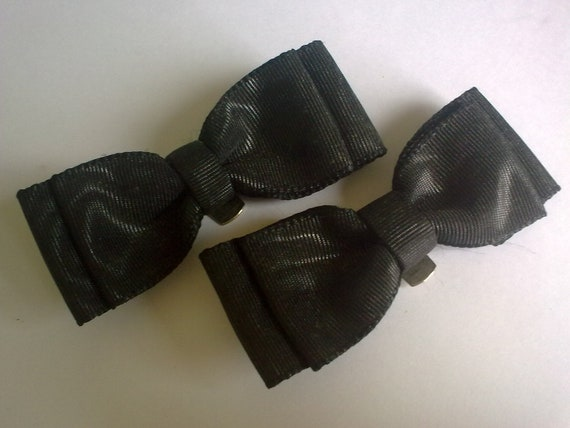 Pair of Black Shoe Clips... Black Fabric Bow