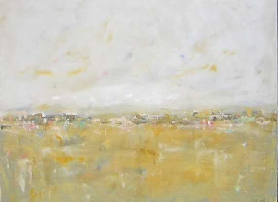 Original Painting Large Abstract Cityscape- City with Gold 40 x 30