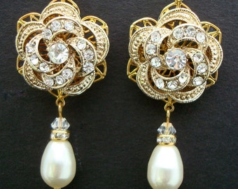 Gold Rhinestone Earrings, Bridal Rhinestone Earrings, Ivory Swarovski Pearls, Rose Rhinestone Earrings, gold bridal earrings, ROSELANI