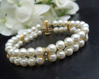 Pearl Bridal Bracelet Ivory Swarovski Pearls Rhinestones Bracelet Classic Bracelet Bridal Rhinestone Ivory vintage style bracelet FRANCESCA