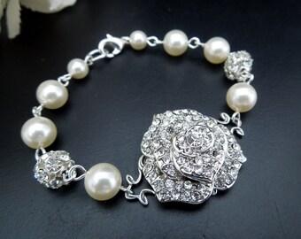 Bridal Wedding Bracelet,Rose,Cuff Bracelet,Ivory or White Pearls,Pearl Rhinestone Bracelet,Bridal Statemetnt Bracelet,Bridal Cuff,Cuff,ROSIE