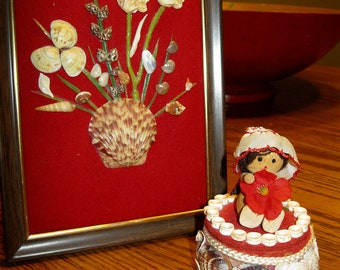 Red velvet and seashell art-picture and trinket box