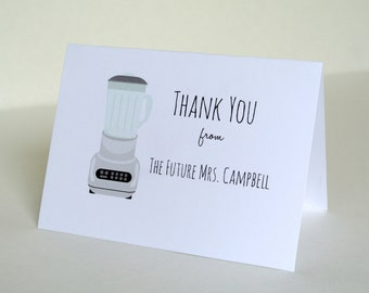 Personalized Bridal Shower Wedding Thank You Note Cards