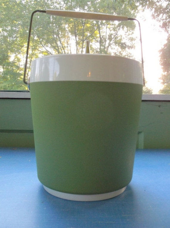 SALE Vintage Avocado Green Ice Bucket West Bend Made in USA