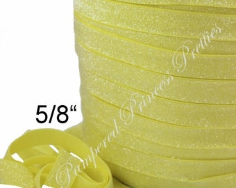 5yd-Glitter Elastic-Frosted Yellow-5/8""