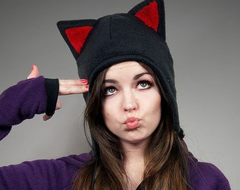 Cap Cat Animal Kitty Red Fur Hat Ears Beanie earmuffs pompons