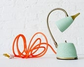 Vintage Lamp - Spring Mint Green Gooseneck w/ Neon Orange Net Cloth Color Cord - Sconce Wall Table Home Bedroom Office Reading Light - OOAK