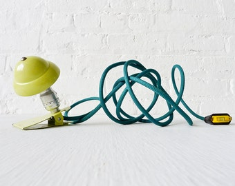 Industrial Night Light - Neon Lime Vintage Mini Machine Age Clip Lamp w Emerald Green Color Cord