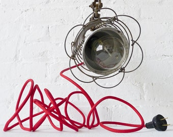 30% SALE - Industrial Lighting - Spiral Cage Clip Clamp Light w Red Color Cord OOAK