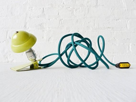 Industrial Night Light - Neon Lime Vintage Mini Machine Age Clip Lamp w Emerald Green Color Cord