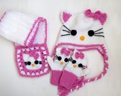 Crochet Kitty Hat ,Kitty gloves and scarf-for Baby or Toddler