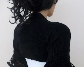 Frilly Black Shrug or scarf-New Item- Elegant Shrug - Any Season-Bolero- hand knitted,lace,super soft and stylish