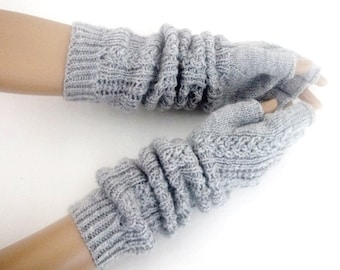 "Gray Half Finger- Fingerless Gloves-Length:17 ""-Extra Long"