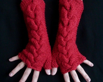 Fingerless Gloves Red, Extra Soft Cabled Arm Warmers in Angora and Acrylic