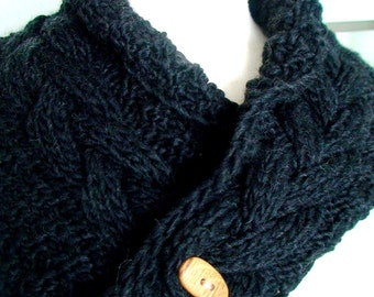 Black Scarf Cowl Neck Warmer Handknit Dark Grey Cabled in Alpaca and Merino