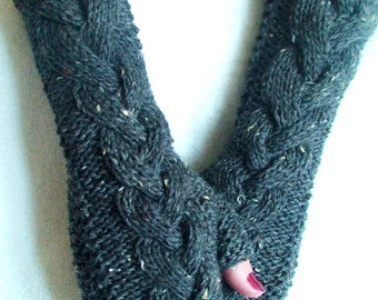 Fingerless Gloves Taupe/ Greyish Brown Tweed Hand Warmers Cabled
