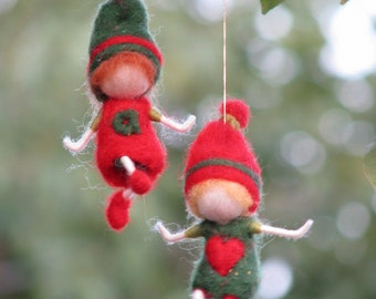 Needle felted waldorf inspired Christmas gnome's ornament