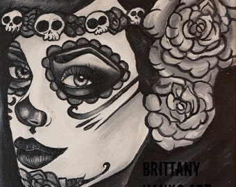 Lily- Satin paper print black and white day of the dead roses and skulls tattoo art