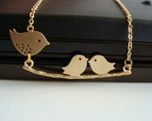 Mom and Babies Necklace, Family Bird Necklace - Also Available in Silver, Mommy Bird with Baby Birds on a Branch Necklace, New Mom Gift