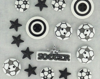 Jesse James Buttons Soccer Ball Button Embellishments Novelty Sports Themed Black and White