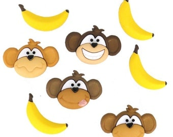 Jesse James Buttons Dress It Up Monkey Business Moneky See Monkey Do Monkeys Bananas