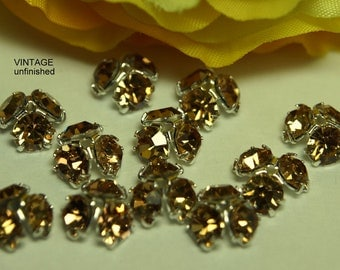 Vintage Swarovski 8mm Light Colorado Topaz Bead Caps (6)