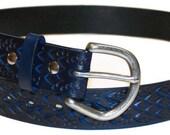 Blue Leather Belt Dragon Print