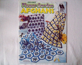 5 Crochet Patterns Flower Garden Afghans booklet, Annies Attic 879914, crochet throw, blanket victorian rose wild rose bluebell, daffodil,
