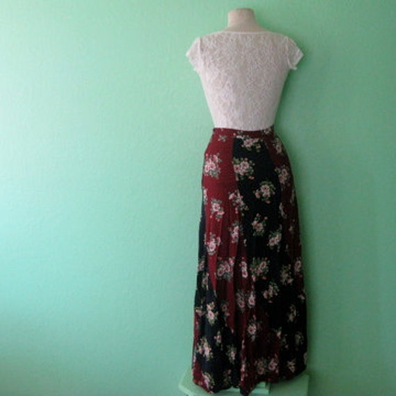 80s skirt - sectional floral maxi dress - size extra small