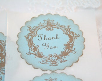 Baby Boy Shower Thank You Stickers Favor Seals Vintage Blue Shower Set of 10