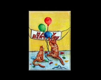 ACEO Cat Painting, Miniature Painting