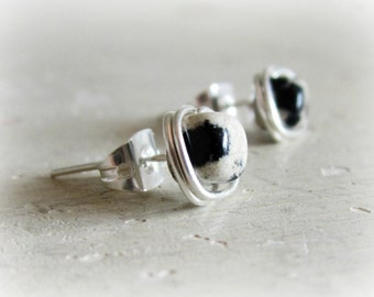 Dalmatian Jasper Stud Earrings, Black and White Spotted Posts, Sterling Wire Wrap, Litttle Stud Earrings, Natural Stone Posts, Small Earring