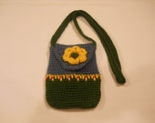 Girl's  Purse with Shoulderstrap in Forest Green and Country Blue with Yellow Flower Embellishment