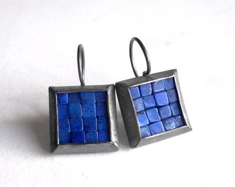Mosaic Earrings - Lapis Lazuli Oxidized Silver Earrings - Square Earrings - Blue Gemstone Earrings - Mosaic Jewelry - French Wire Earrings